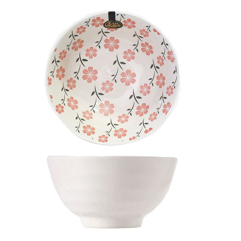 Hand Painted Threaded Bowl 8 inch (Sakura Pink)