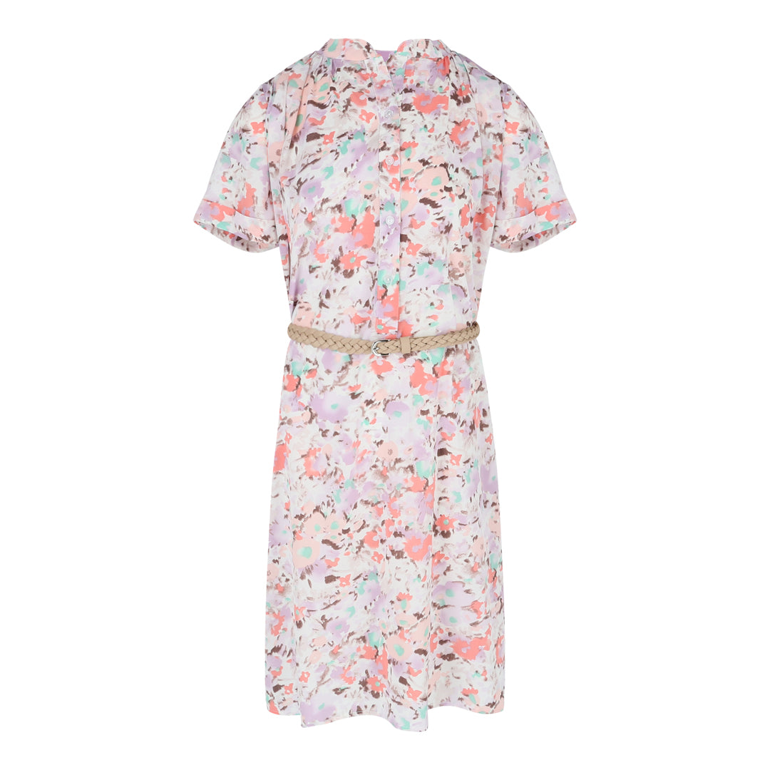 Short Sleeve Printed Loose Fit Dress W Belt (Printed)