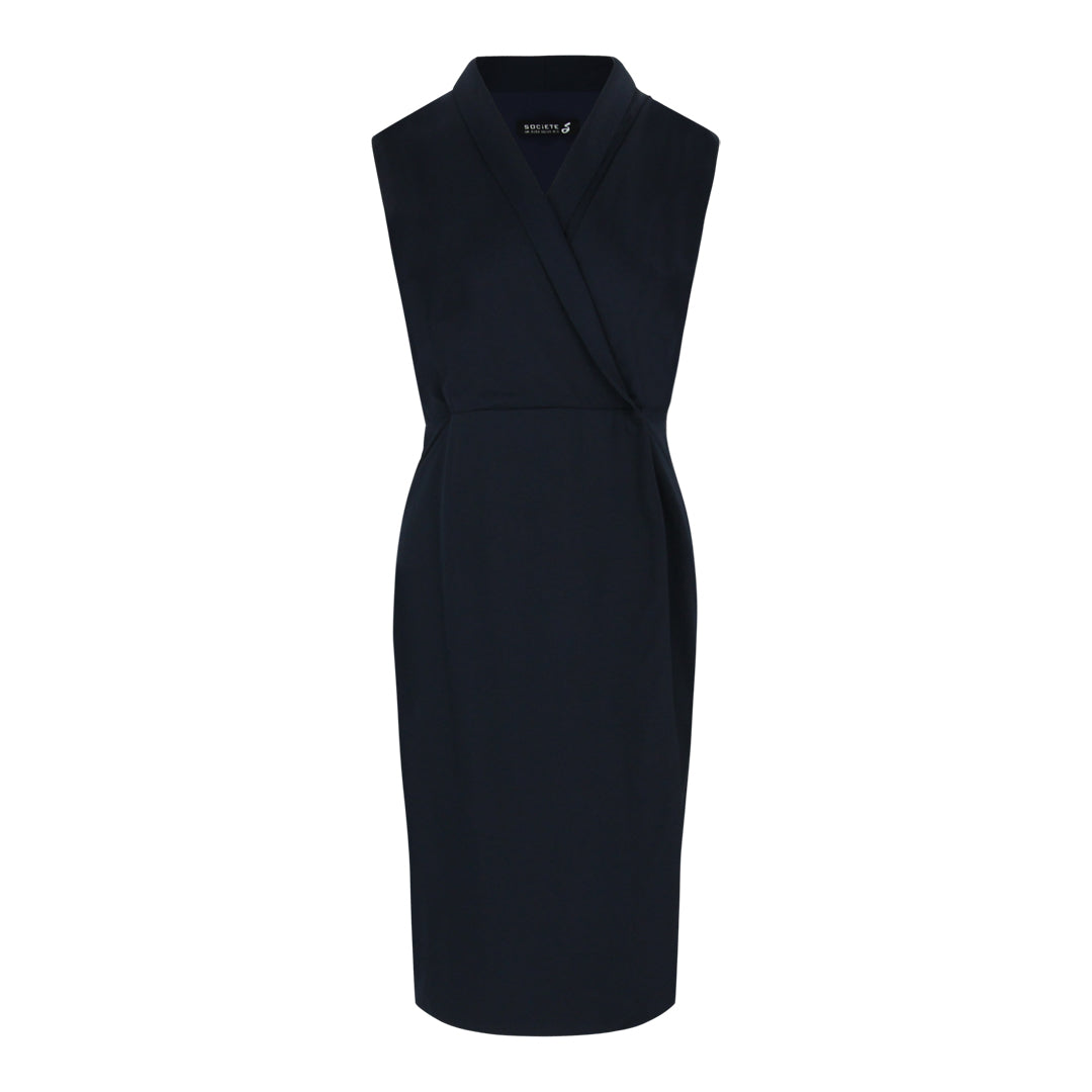 Sleeveless Wrap Dress (Navy)