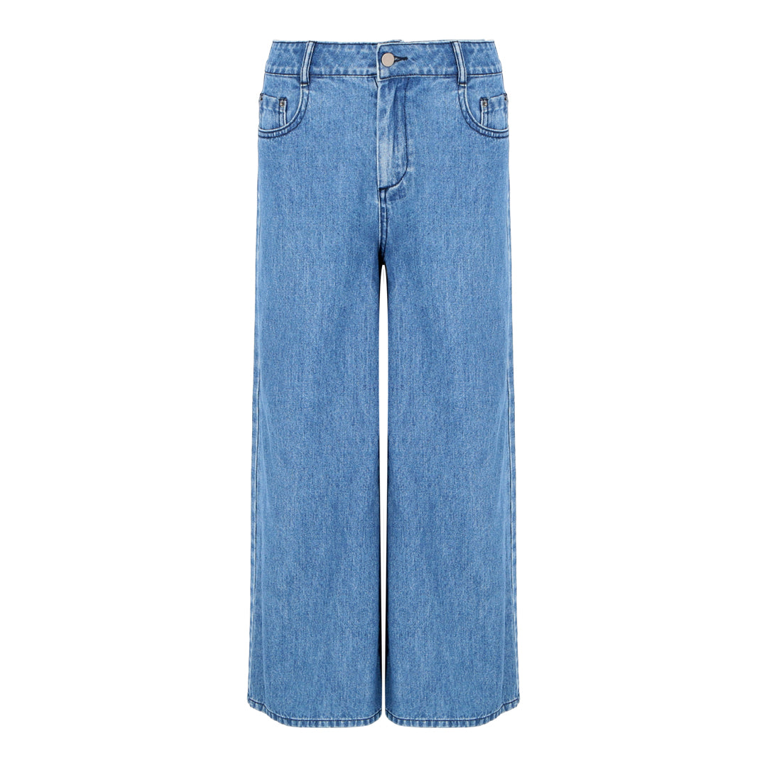 Denim Wide Leg Pants (Light Denim)