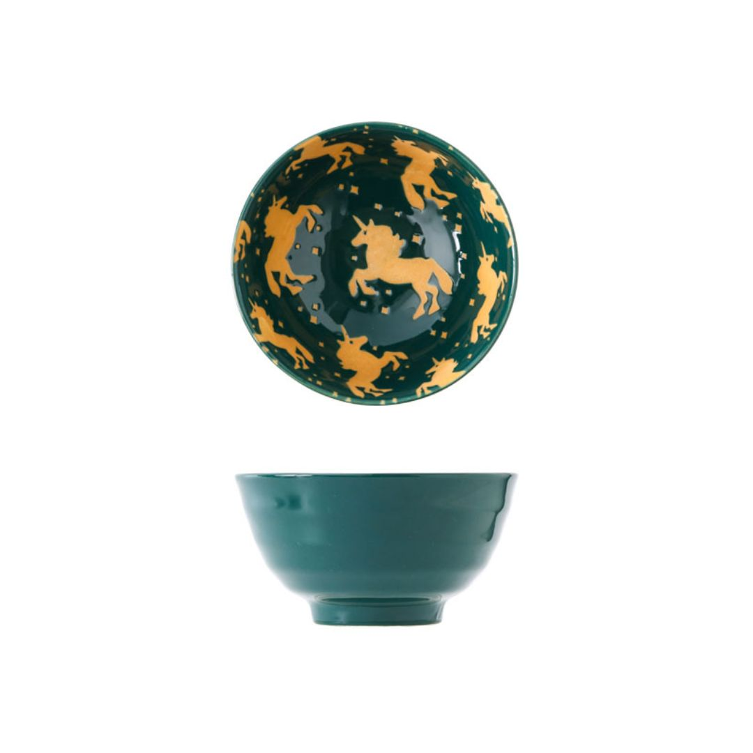 Hand Painted Threaded Bowl 4.5 inch (Unicorn Green)