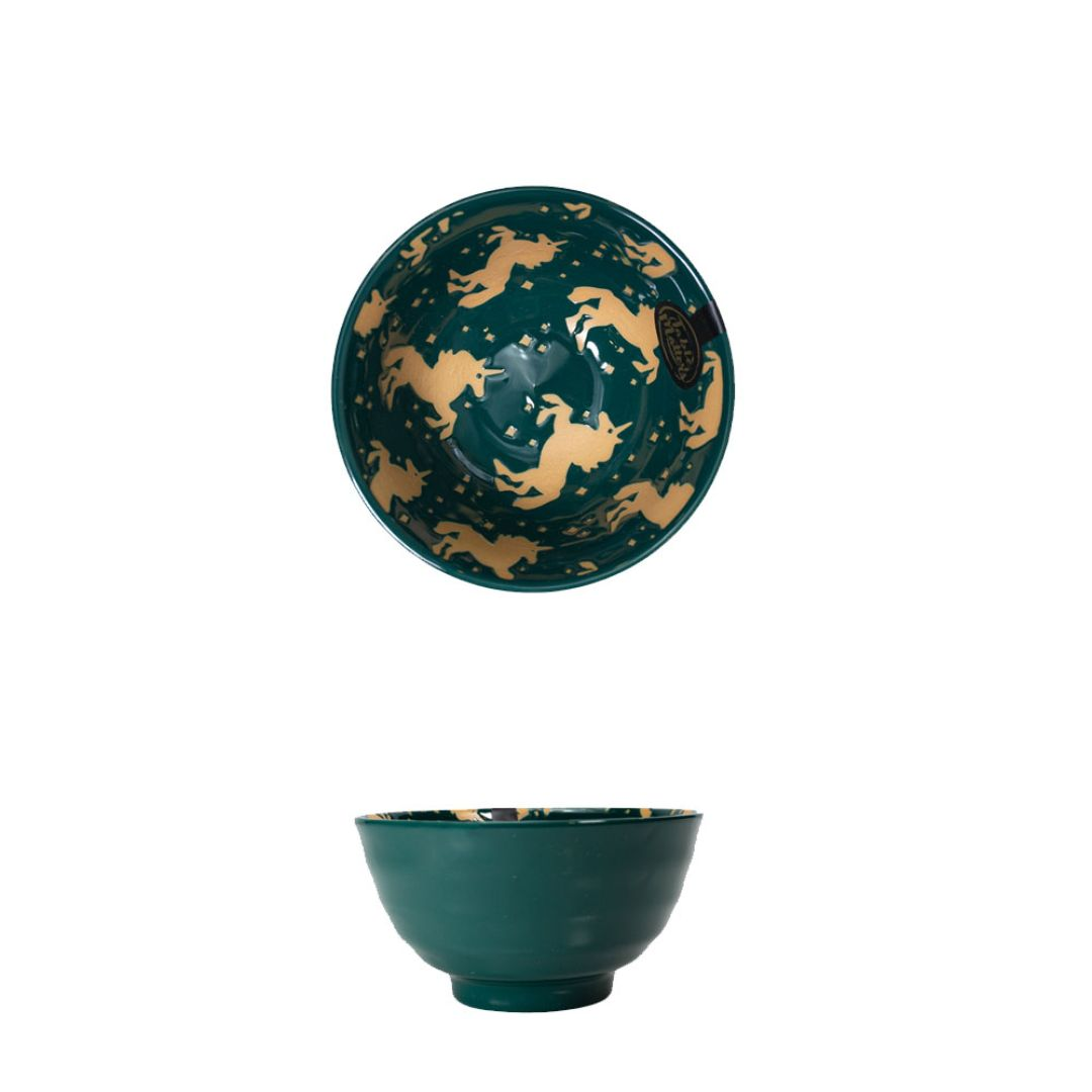 Hand Painted Threaded Bowl 5 inch (Unicorn Green)