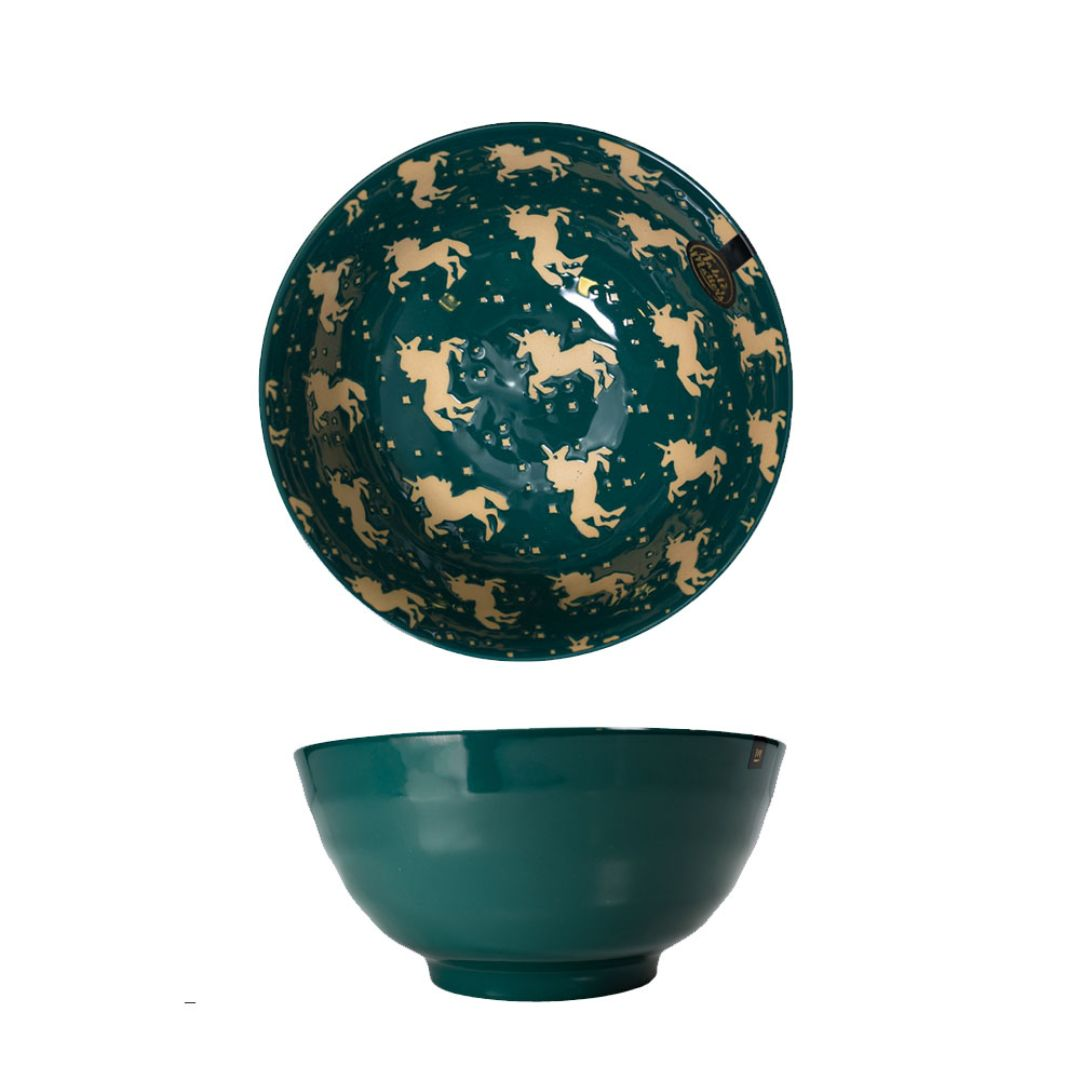 Hand Painted Threaded Bowl 8 inch (Unicorn Green)