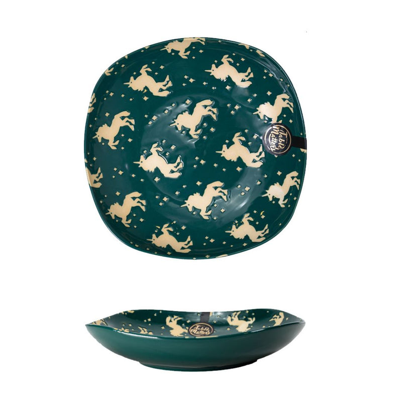 Hand Painted Square Plate 8 inch (Unicorn Green)