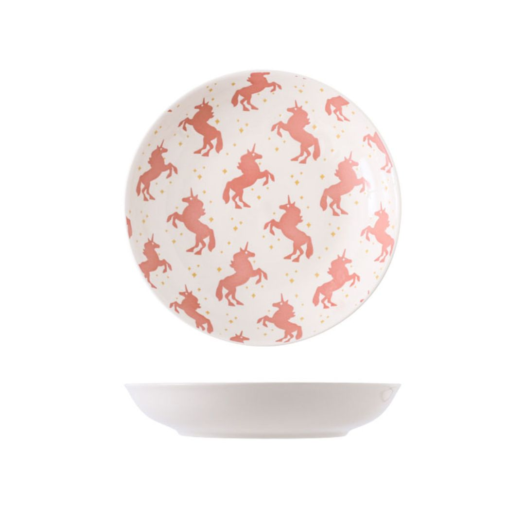 Hand Painted Coupe Plate 7 inch (Unicorn Pink)