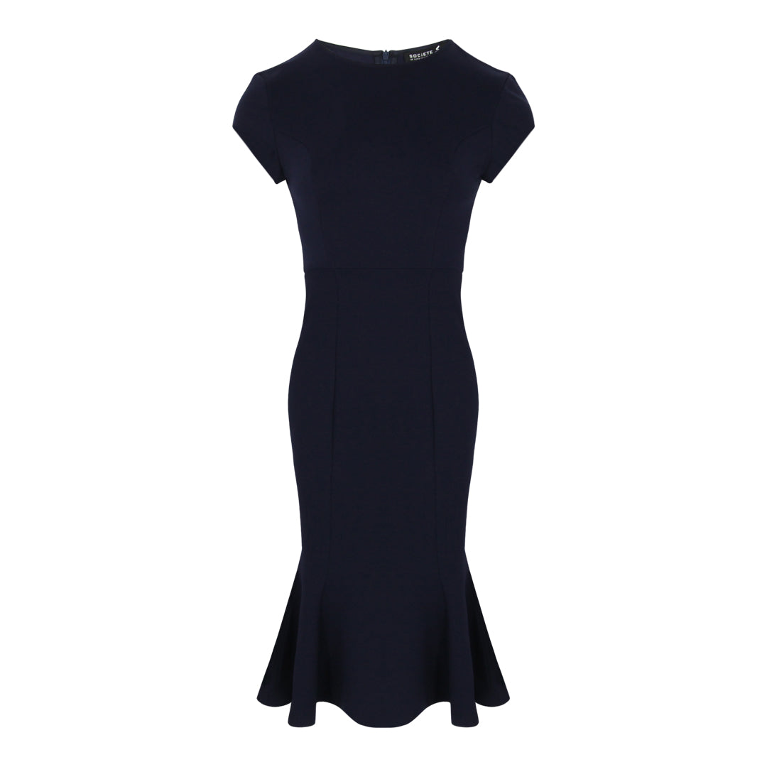 Cap Sleeve Bodycon Peplum Hem Dress (Navy)