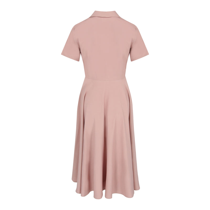 Tie Wrap Flare Dress (Pink)