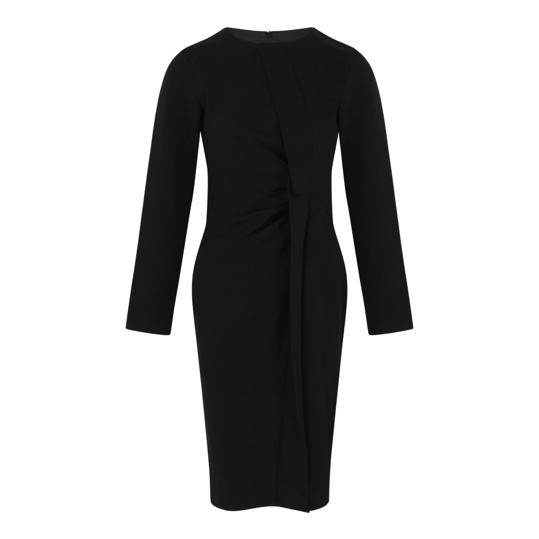 Long Sleeve Bodycon Dress with Gathers (Black)