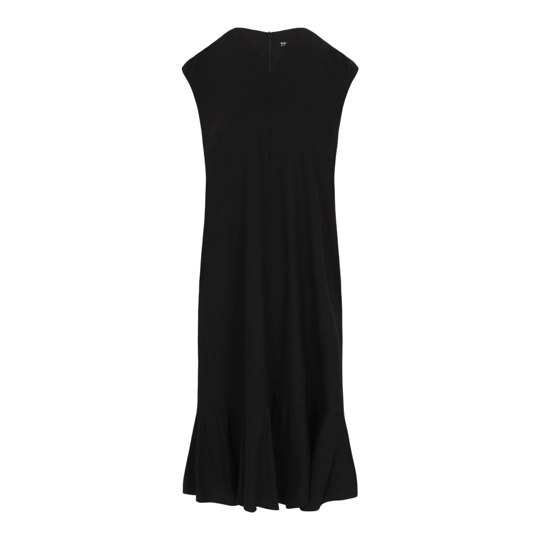 V-Neck Pleated Midi Dress (Black)
