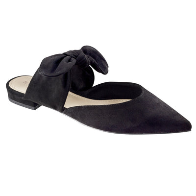 Leather Mules with Ribbon at the Top