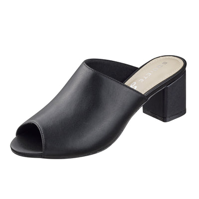 Leather Heeled Slides