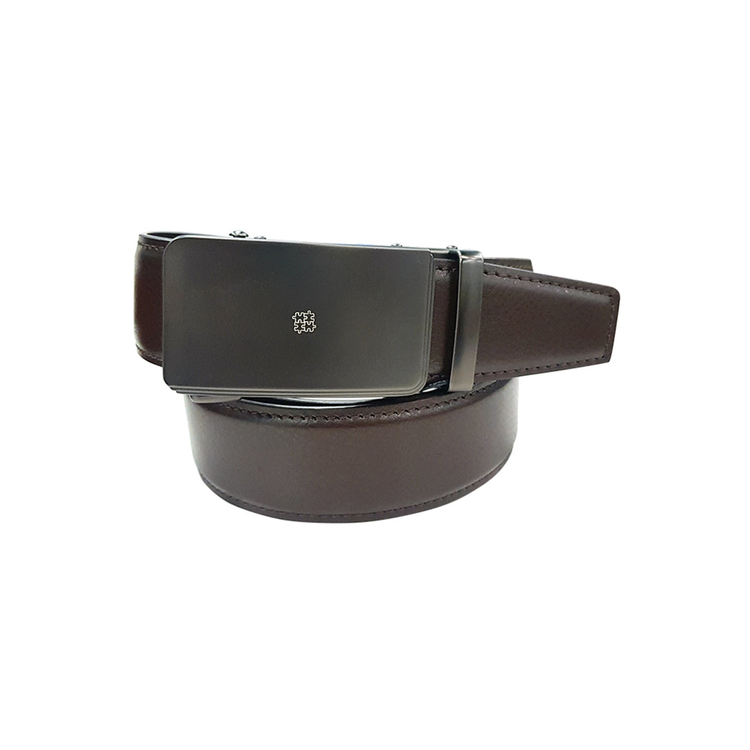 Auto-Lock Leather Belt in Brown