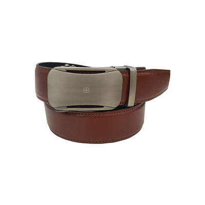 Auto-Lock Leather Belt in Tan