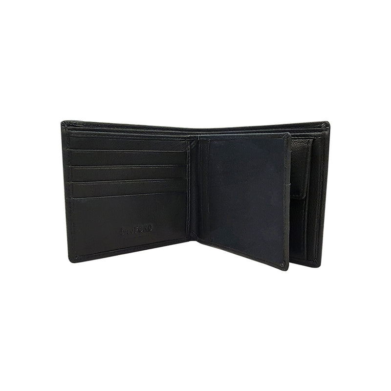 Textured Leather Mid Flap Bi-fold Wallet with Coin Compartment
