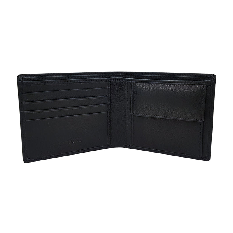 Textured Leather Bi-fold Wallet with Coin Compartment
