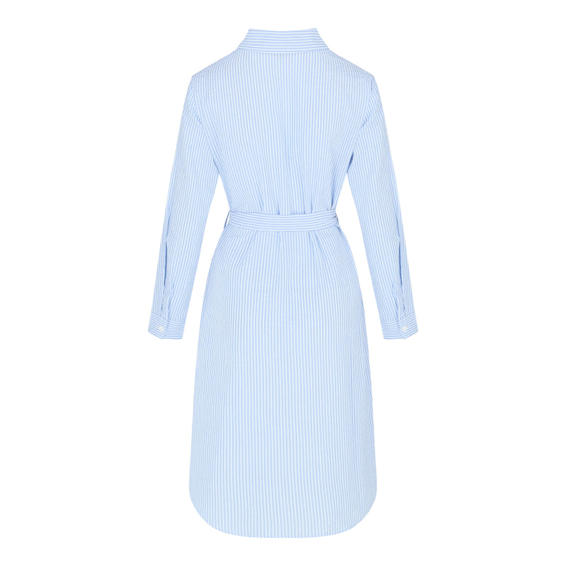 Stripe Long Sleeve Shirt Dress (Blue)