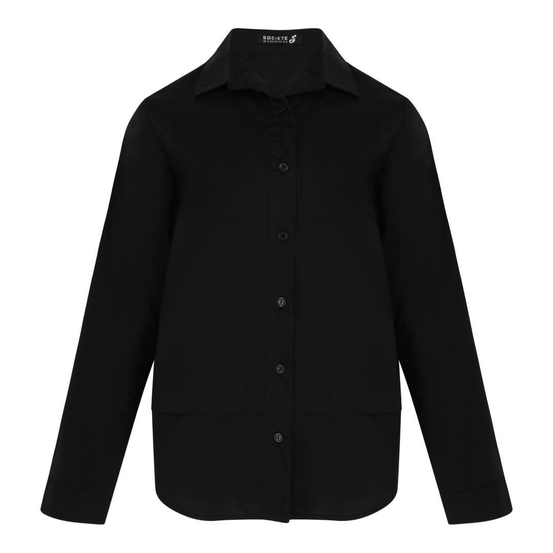 Curved Hem Long Sleeve Shirt (Black)