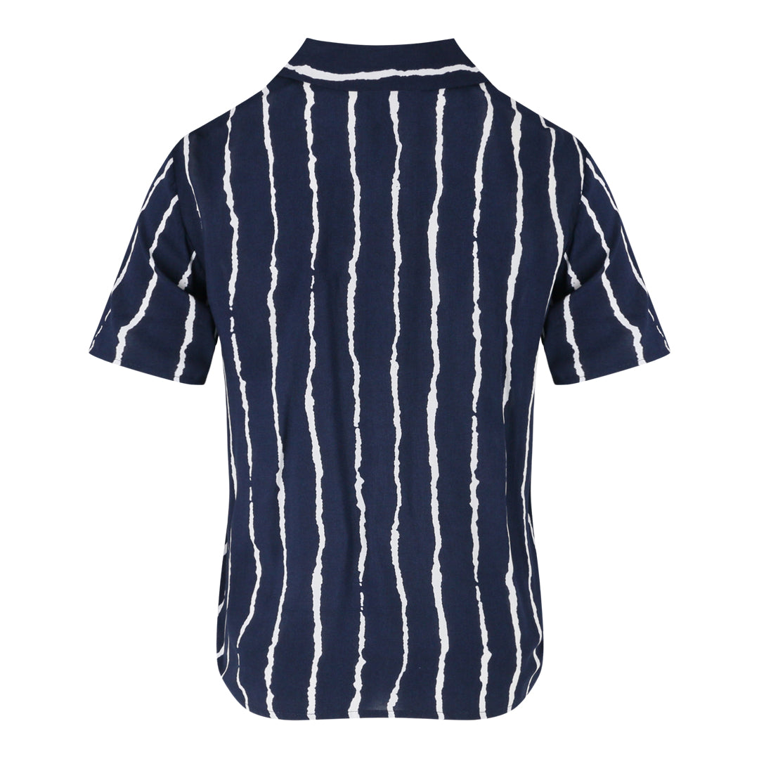 Short Sleeve Stripe Shirt (Navy/Blue)
