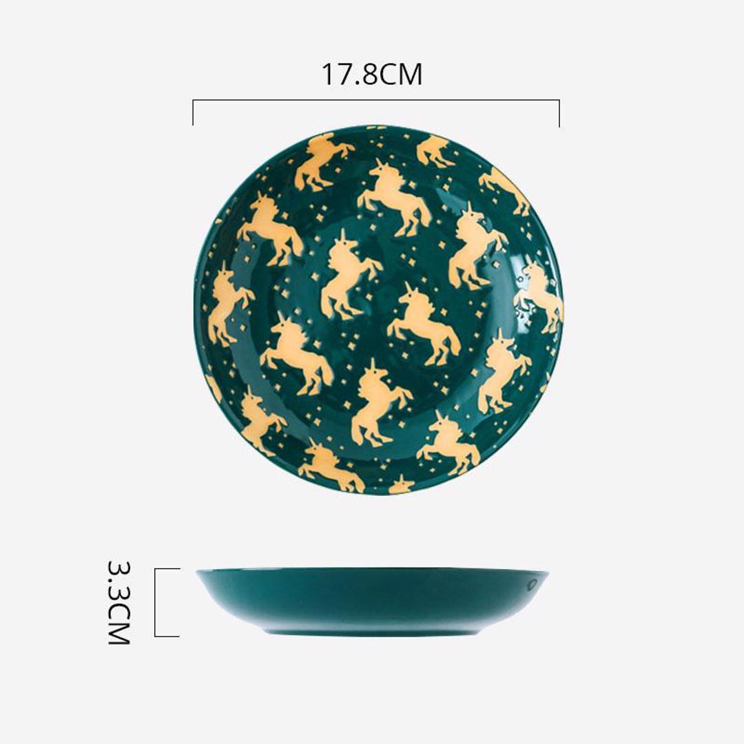 Hand Painted Coupe Plate 7 inch (Unicorn Green)