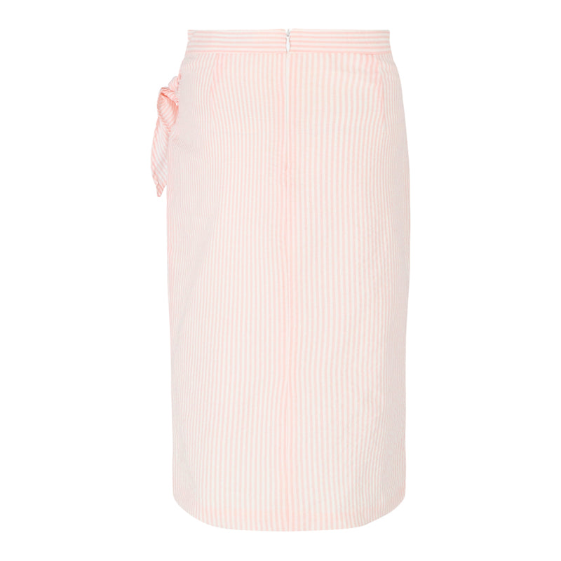 Stripe Wrap Skirt (Salmon)
