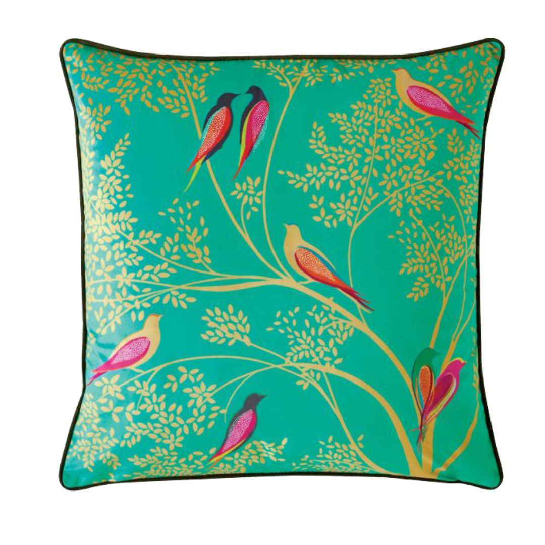 Green Birds - Feather Filled Cushion 50cm X 50cm (Green)