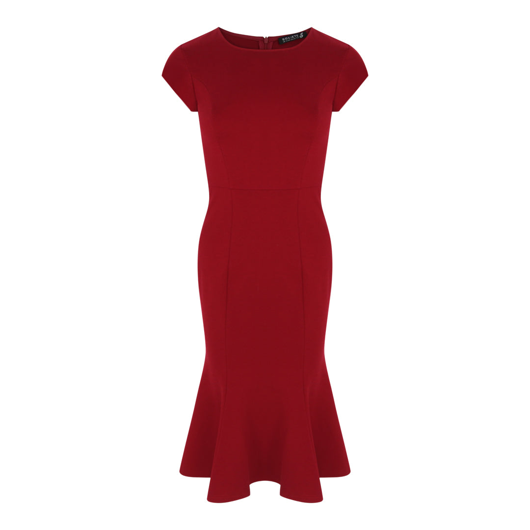 Cap Sleeve Bodycon Peplum Hem Dress (Red)