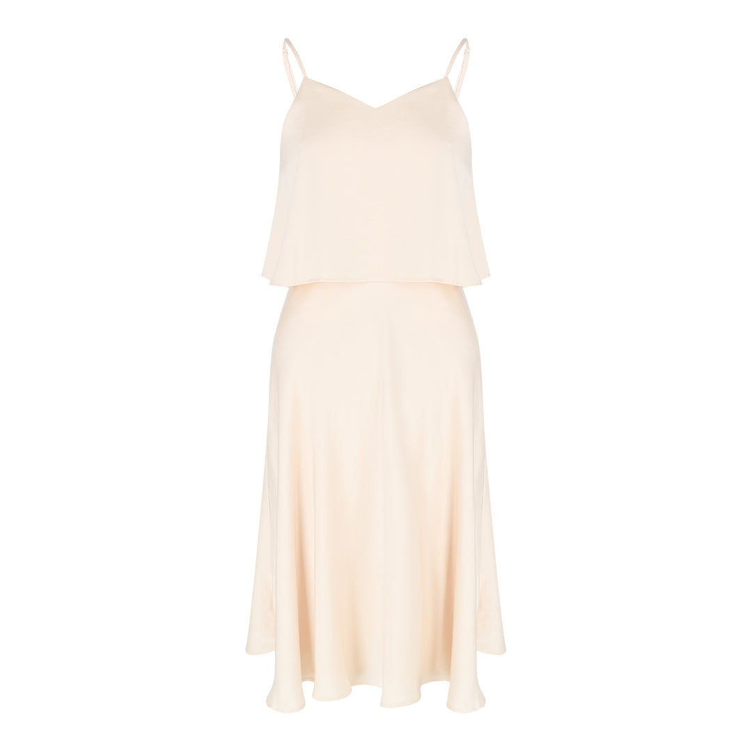 Spaghetti Satin Flare Dress (Champagne)