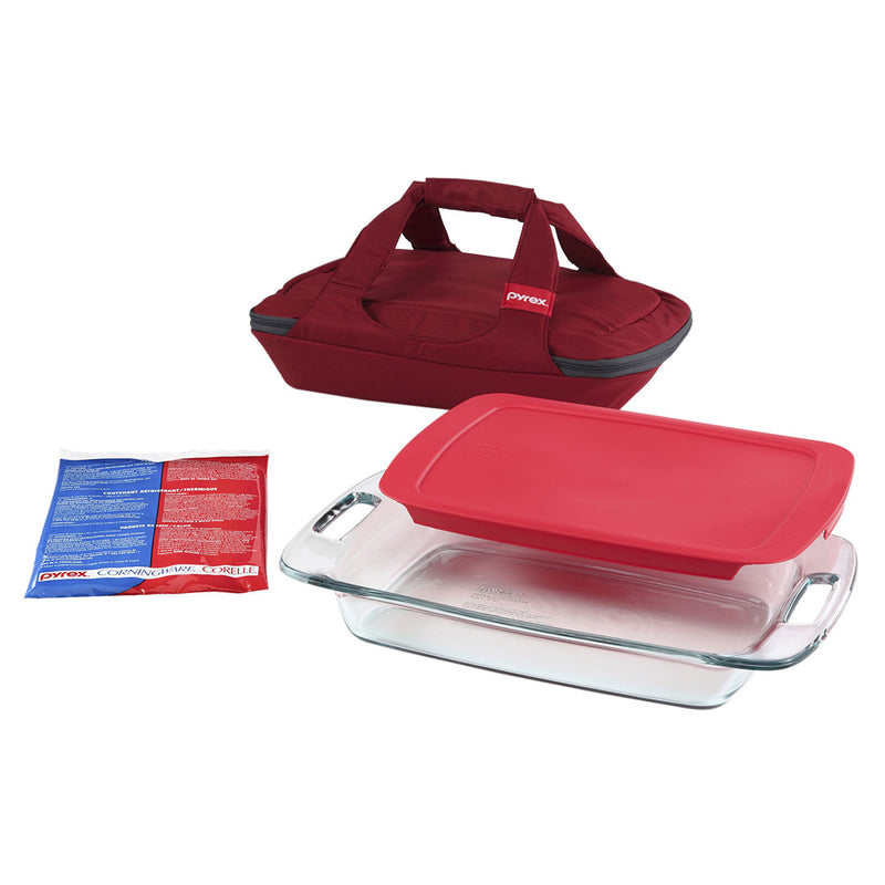 2.85L Oblong Baking Dish with Plastic Cover, Carrier Bag & Hot/Cold Pack