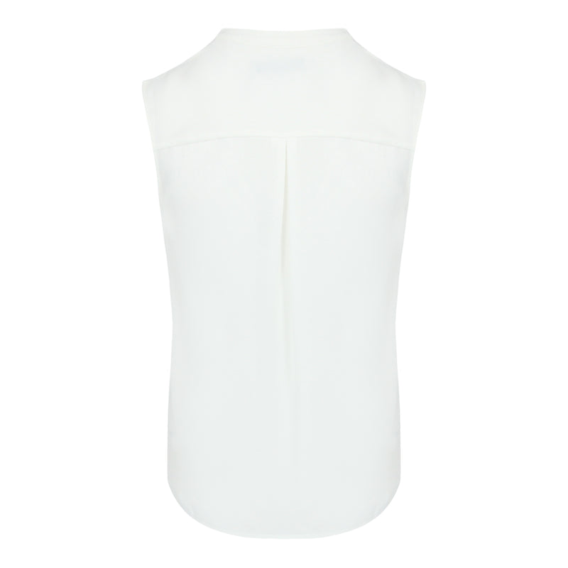 Pin Tuck Sleevless Top (White)