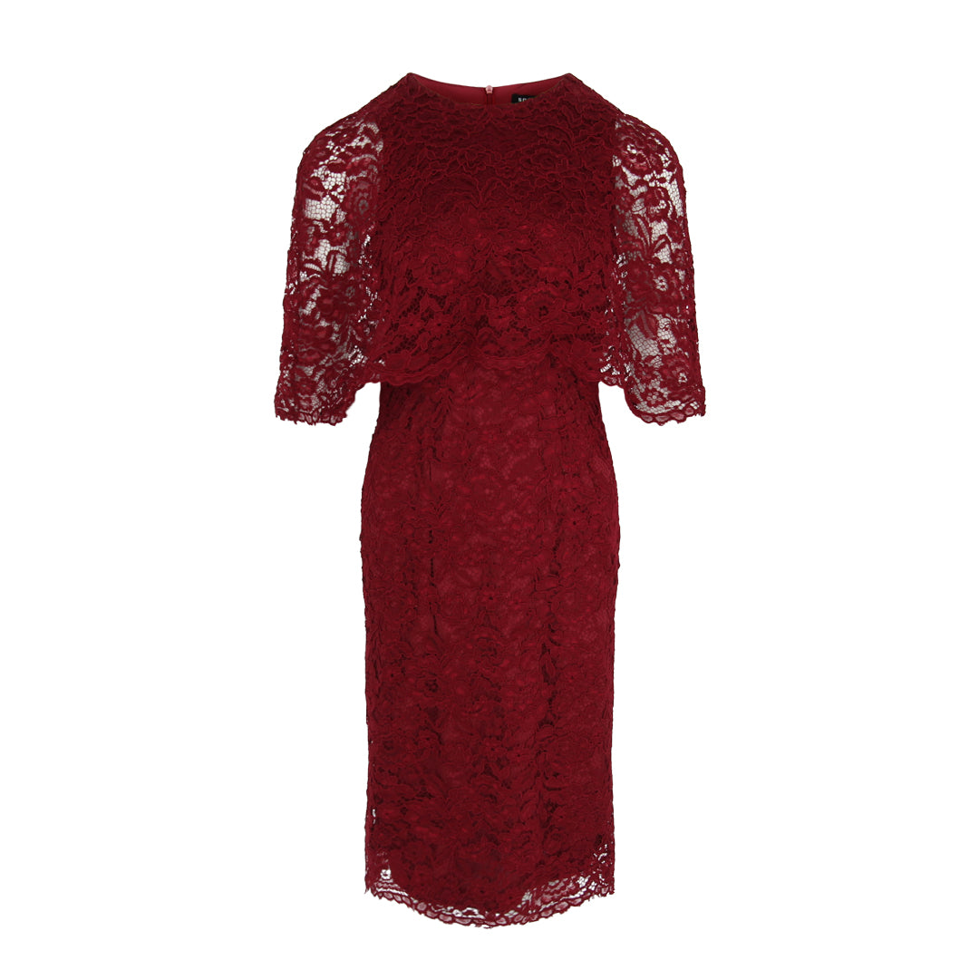 Cape Lace Bodycon Dress (Maroon)