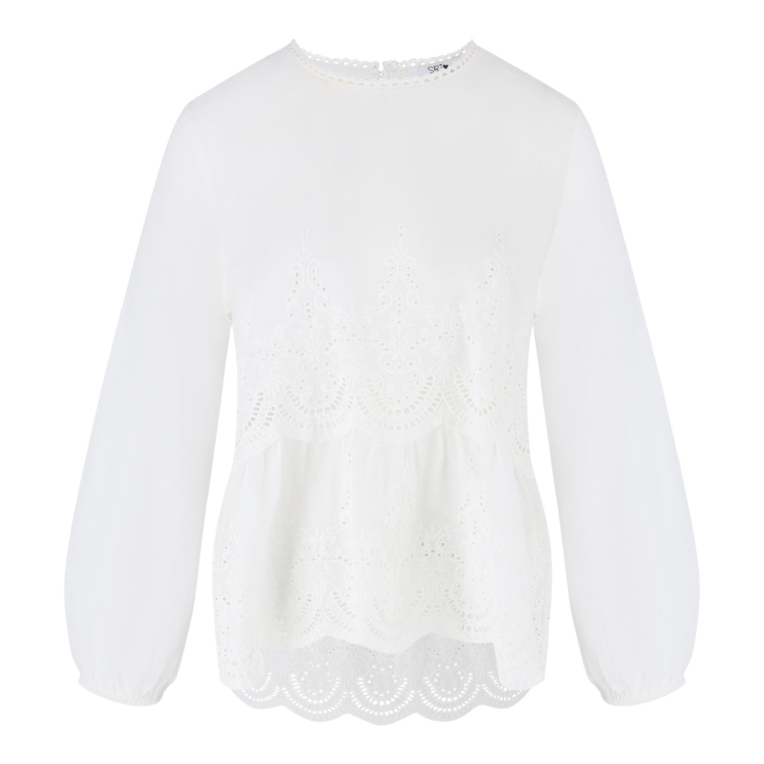 Long Sleeve Eyelet Top (White)
