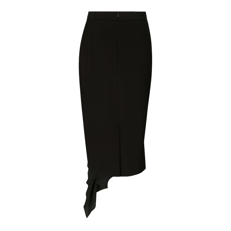 Pencil Skirt with Contrast Flounce (Black / Black Trim)