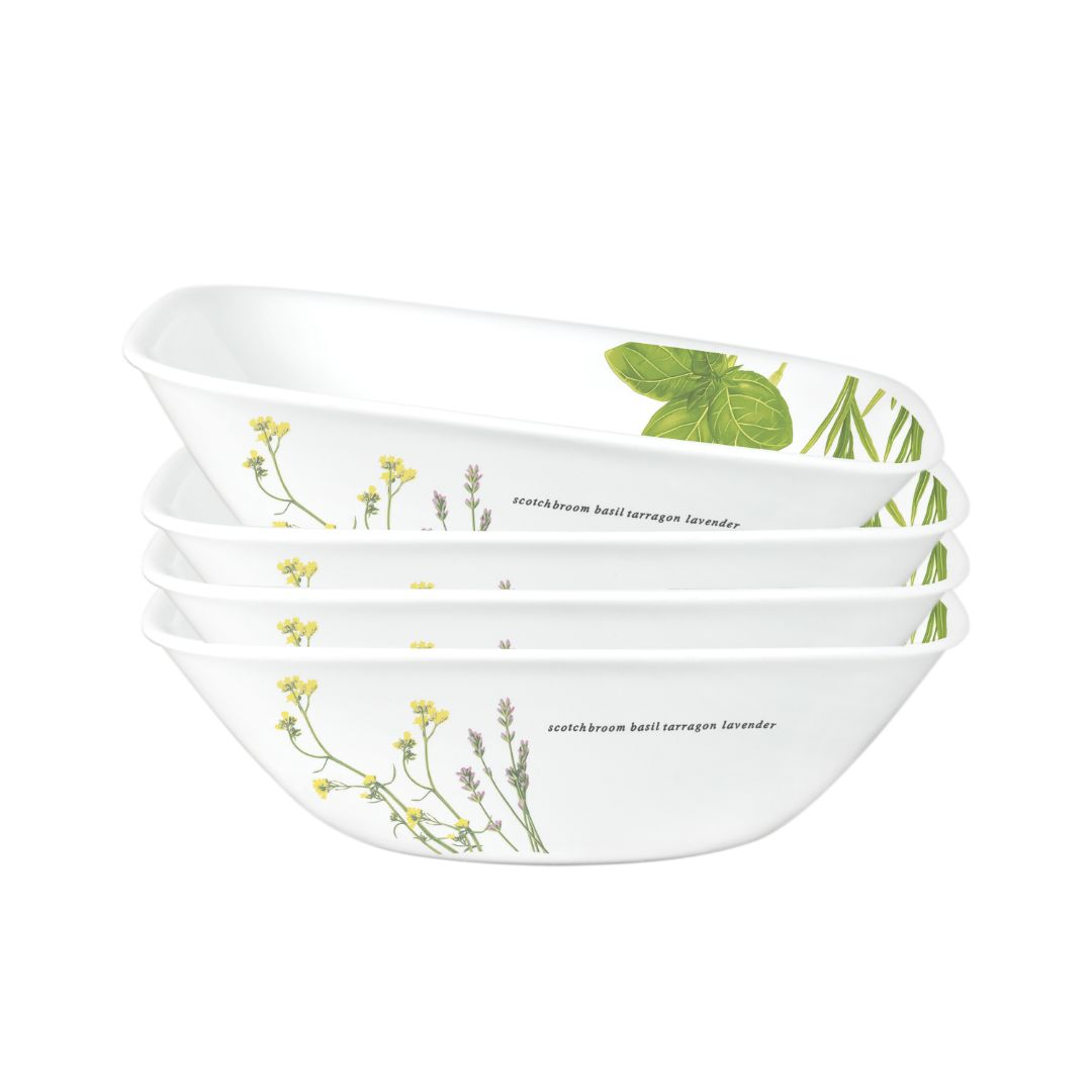 4pc Square Round 32oz Bowl Set, European Herbs