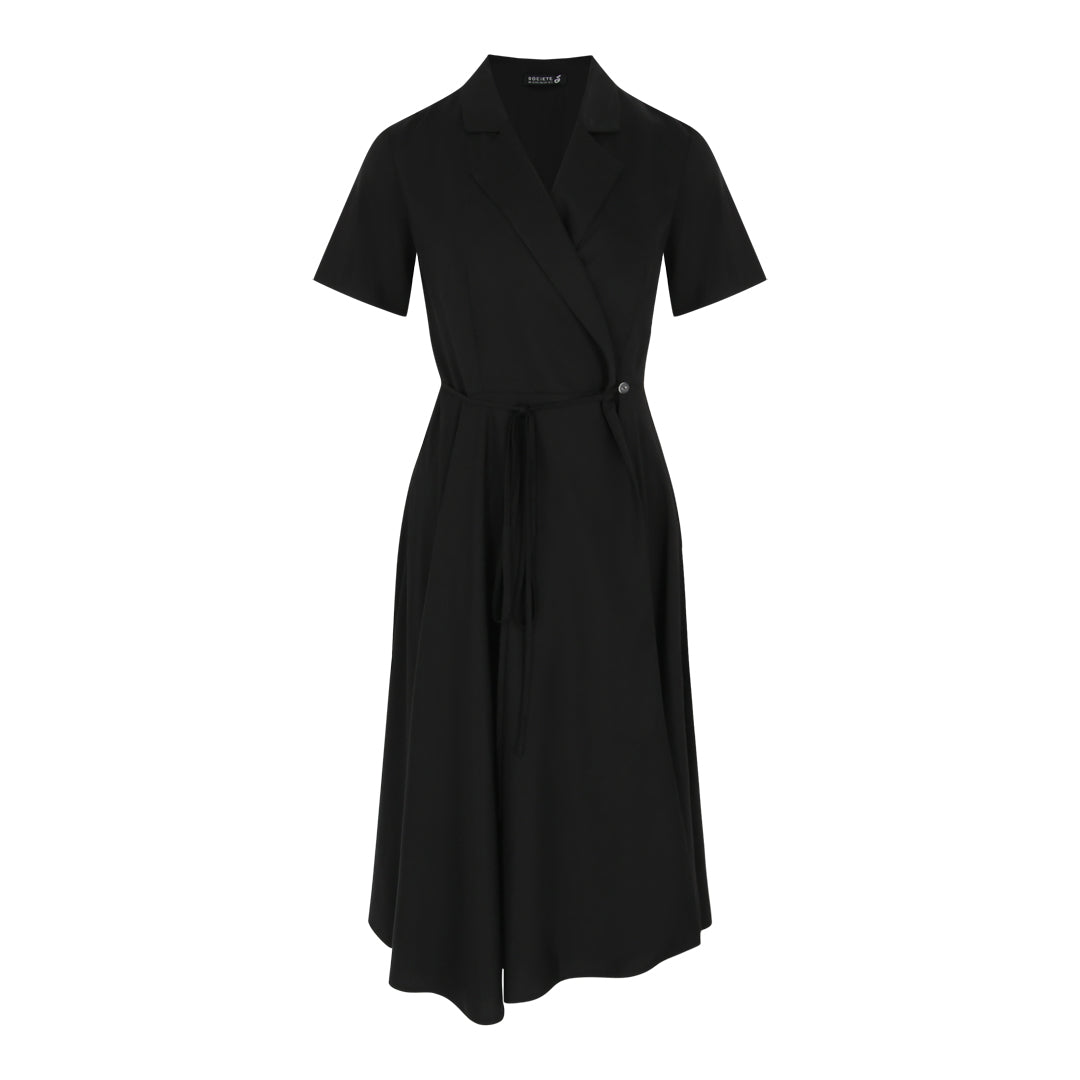 Tie Wrap Flare Dress (Black)