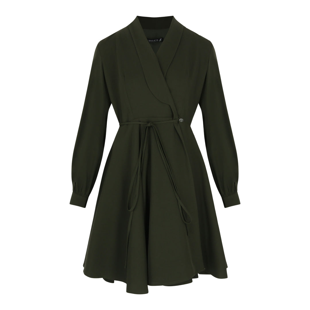 Long Sleeve Wrap Tie Dress (Green)