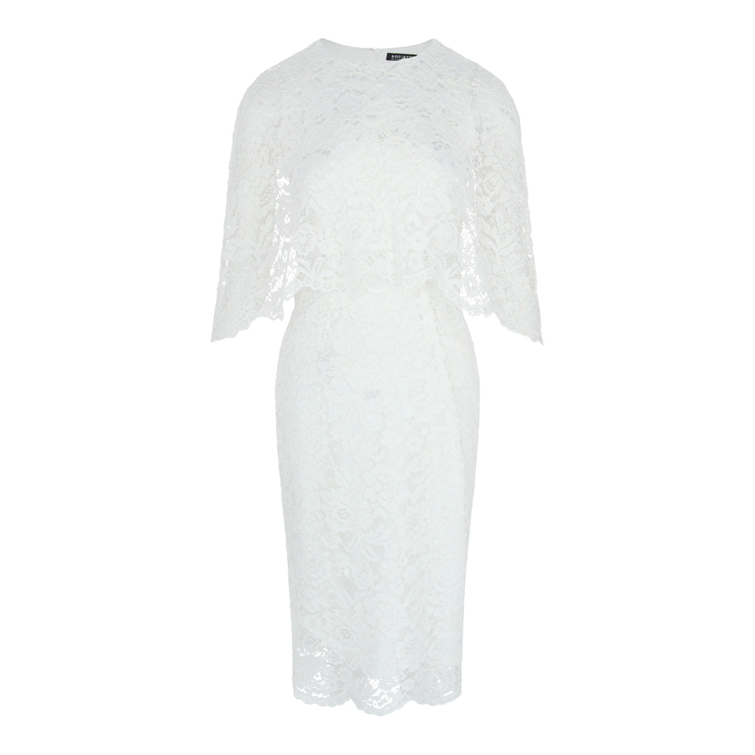 Cape Lace Bodycon Dress (White)