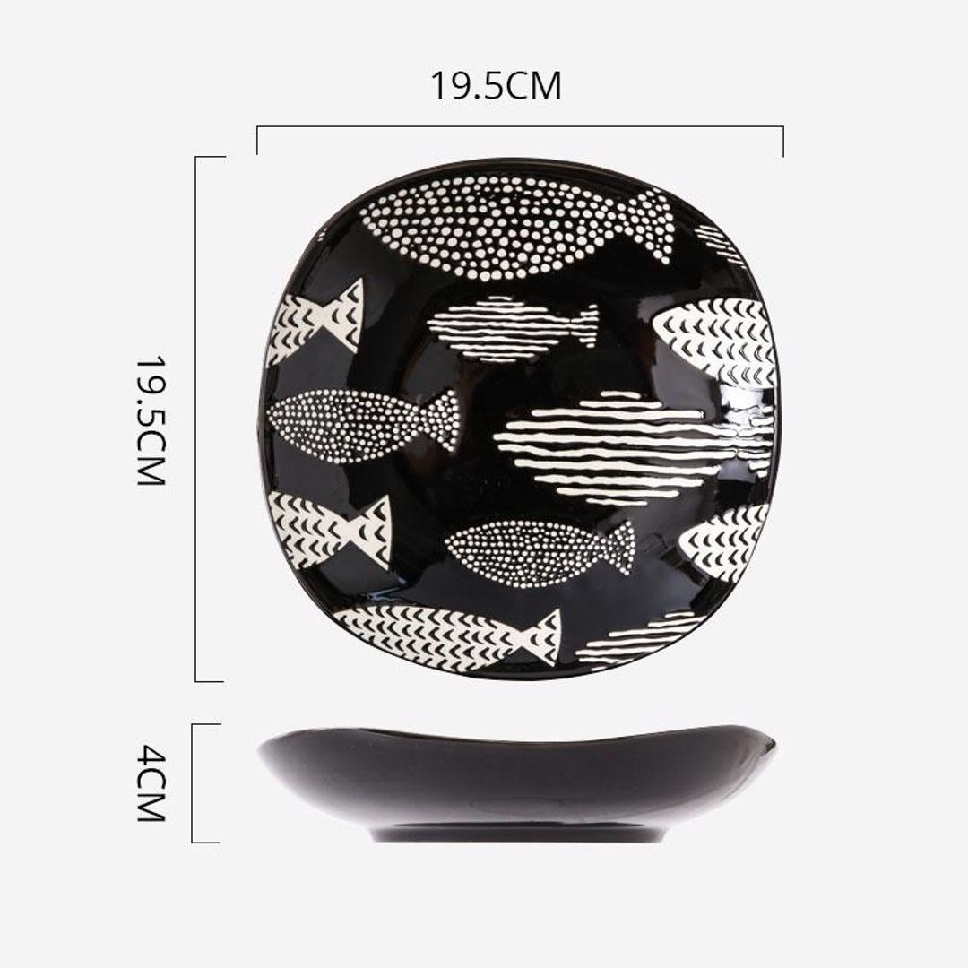 Hand Painted Square Plate 8 inch (Fishes Ebony)