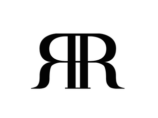 RIER LOGO RR SIGLA BLACK AND WHITE LETTERS SPECULAR EMBLEM FASHION BRAND HOUSE PARIS CLOTHING HAUTE COUTURE BRAND MODERN WARDROBE CONTRAST GRAPHIC DESIGN MODERNIST SYMBOL