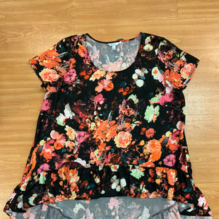 Primary Photo - BRAND: BOUTIQUE + STYLE: TUNIC SHORT SLEEVE COLOR: BLACK SIZE: 1X OTHER INFO: MULTICOLOR FLOWERS SKU: 245-245199-206
