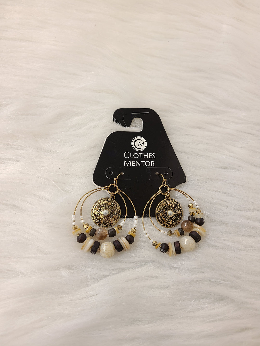Primary Photo - BRAND:    CLOTHES MENTOR <BR>STYLE: EARRINGS <BR>COLOR: GOLD <BR>OTHER INFO: DOUBLE HOOPS W BROWN <BR>SKU: 245-24513-79903
