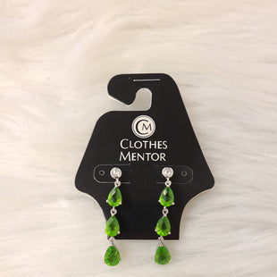 Primary Photo - BRAND:    CLOTHES MENTOR STYLE: EARRINGS COLOR: SILVER OTHER INFO: GREEN RHINESTONES- NO RETURNS SKU: 245-245199-4573