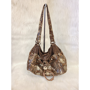 Primary Photo - BRAND: B MAKOWSKY STYLE: HANDBAG DESIGNER COLOR: SNAKESKIN PRINT SIZE: MEDIUM OTHER INFO: BROWN NO RETURNS SKU: 245-24518-73219