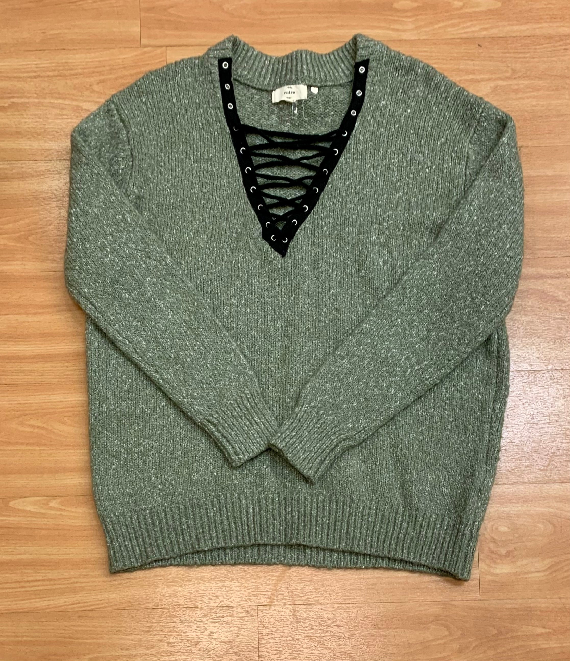 Primary Photo - BRAND: ENTRO <BR>STYLE: SWEATER HEAVYWEIGHT <BR>COLOR: GREEN <BR>SIZE: L <BR>SKU: 245-24518-75127