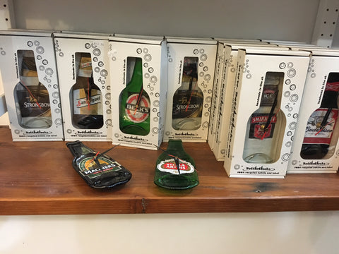 Recycled bottle clocks