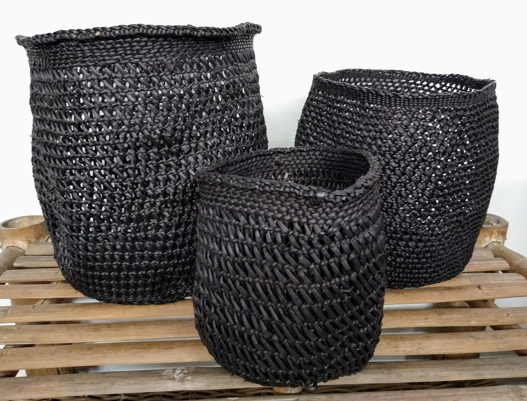 All Black - Open Weave Basket