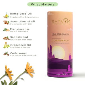 Satvik Spirit CONFIDENCE – Hemp Seed Body Oil | 100ML