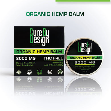 Cure By Design Organic Indian Hemp Balm - 2000mg