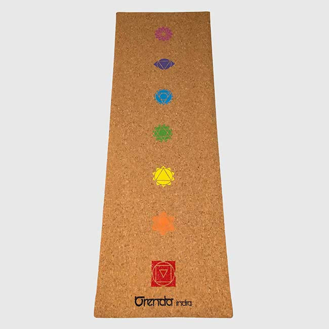 Orenda India Yogi Travel Cork Yoga Mat 7-Chakra