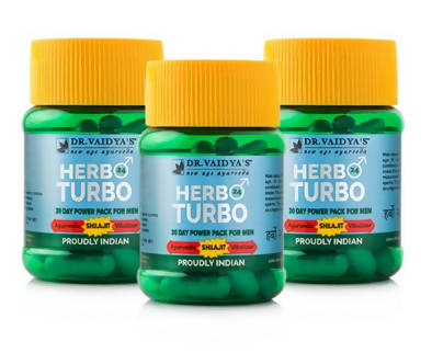 Dr. Vaidya's Herbo24Turbo - Ayurvedic Capsules for Male Sexual Wellness - Pack of 3