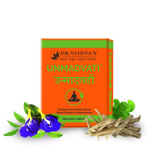Dr. Vaidya's Unmadvati Pills- Ayurvedic Pilss for Sleep, Anxiety & Stress - Pack of 3
